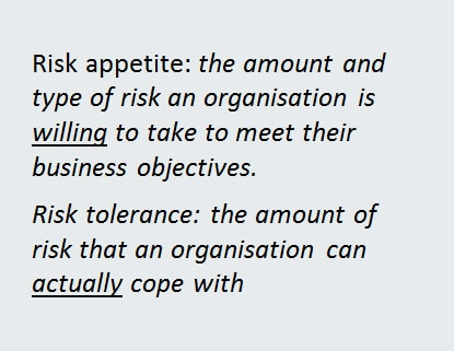 Risk appetite and tolerance defined